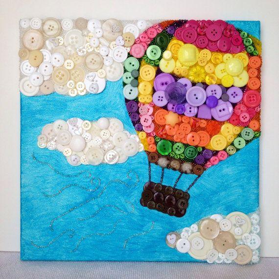 Runaway Balloon 12x12 handmade button art by PolkaDotPalette