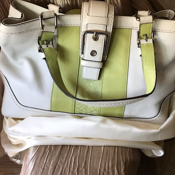Shop Women's Coach Green White size OS Satchels at a discounted price at Poshmark. Description: Coach Satchel Leather HandBag -Used Authentic, comes with Coach white bag & Coach 📦 box💕💕💕 In Great condition. Sold by txlflor. Fast delivery, full service customer support.