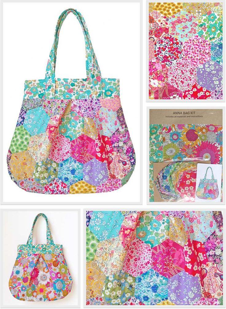 New Liberty Fabric Hexagons Patchwork Anna Bag Kit