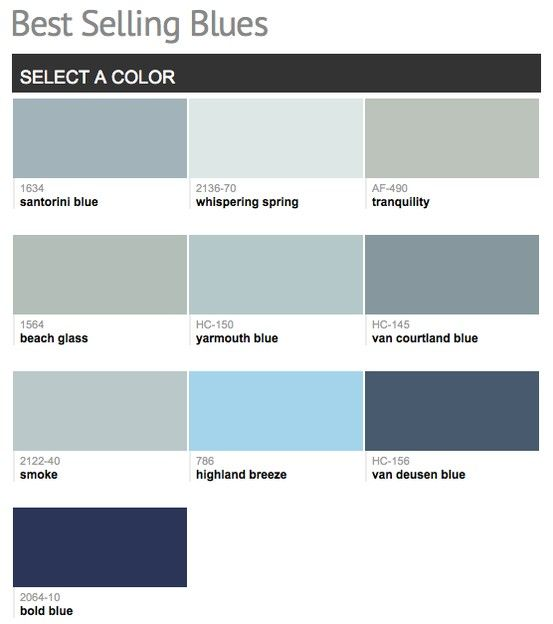 best selling popular shades of blue paint colors from
