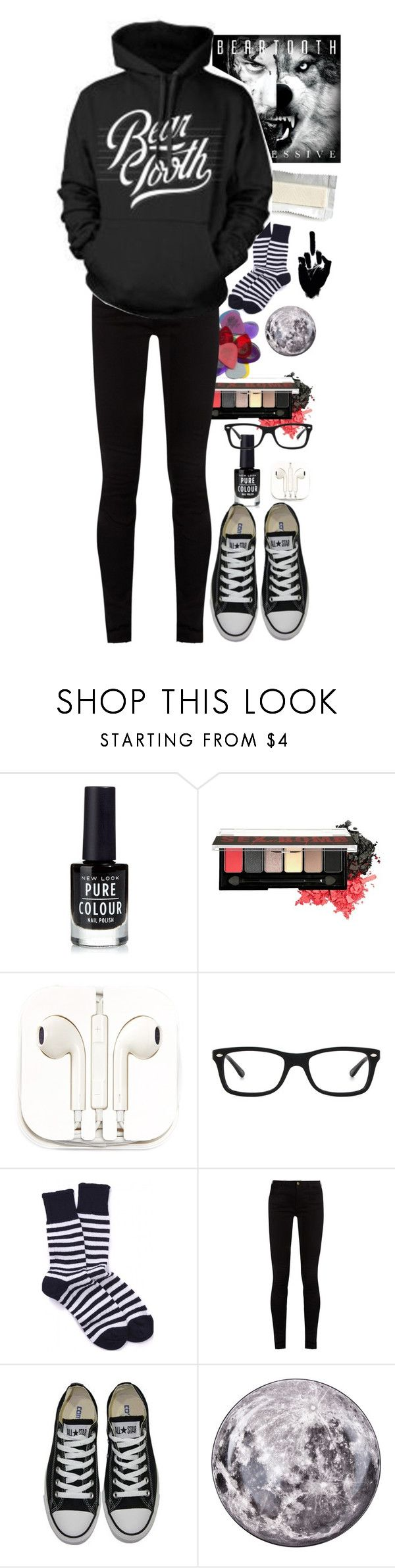 """""""shut up about the warped tour lineup it's great"""" by emorecyclable ❤ liked on Polyvore featuring New Look, NYX, PhunkeeTree, Ray-Ban, Gucci, Converse and Seletti"""