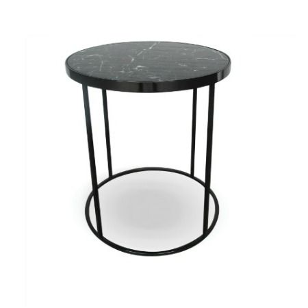 Round Beta Side Table With A 20mm Nero Marquina Marble Top