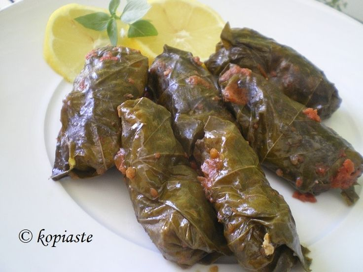 Koupepia (as we call them in Cyprus) are dolmades stuffed with rice, ground pork or veal, fresh herbs and seasoning, cooked in a tomato sauce. They can be served as part of a meze platter or salad plate, eaten as finger food or as a main dish.