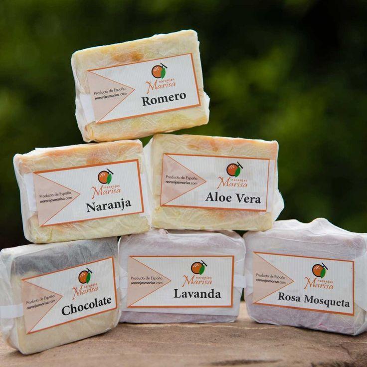 Productos elaborados – Naranjas Marisa. JABONES DE DIFERENTES OLORES Productos elaborados 100% naturales y de cosecha propia.