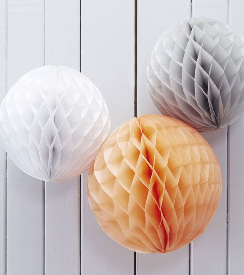Wabenball-Set - pfirsich, weiß, grau- 3-teilig
