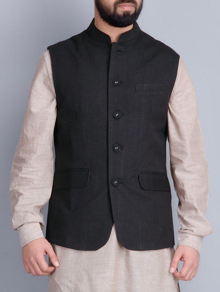 Buy Black Button Down With Three Pockets Cotton Silk Nehru Jacket Men Jackets Online at Jaypore.com