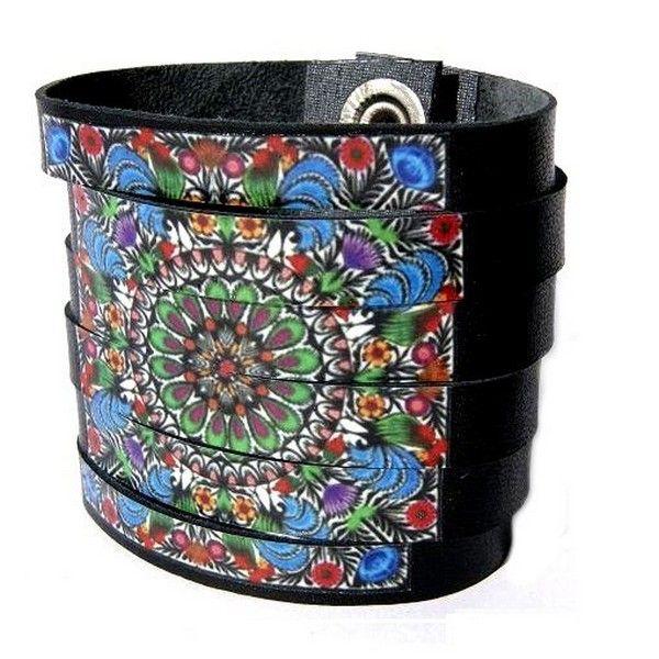 Skórzana bransoletka decoupage Folk 2 - Hady-Surowiec - 1 #handmade #skóra #folk #bransoletka # decoupage #artystyczna #czarna