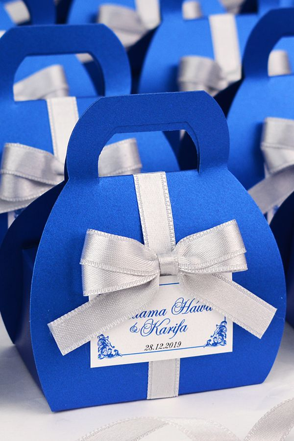 Royal Blue Wedding Favor Gift Box With Silver Satin Ribbon Bow And Your Names Elegant Personalized Bonbonniere Small Purse For Candies Wedding Favor Gift Boxes Personalized Wedding Favor Box Royal Blue