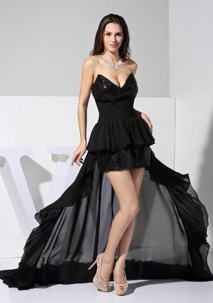 Vestido lujo de noche de Chifón con cola larga 51120-Vestidos de Noche