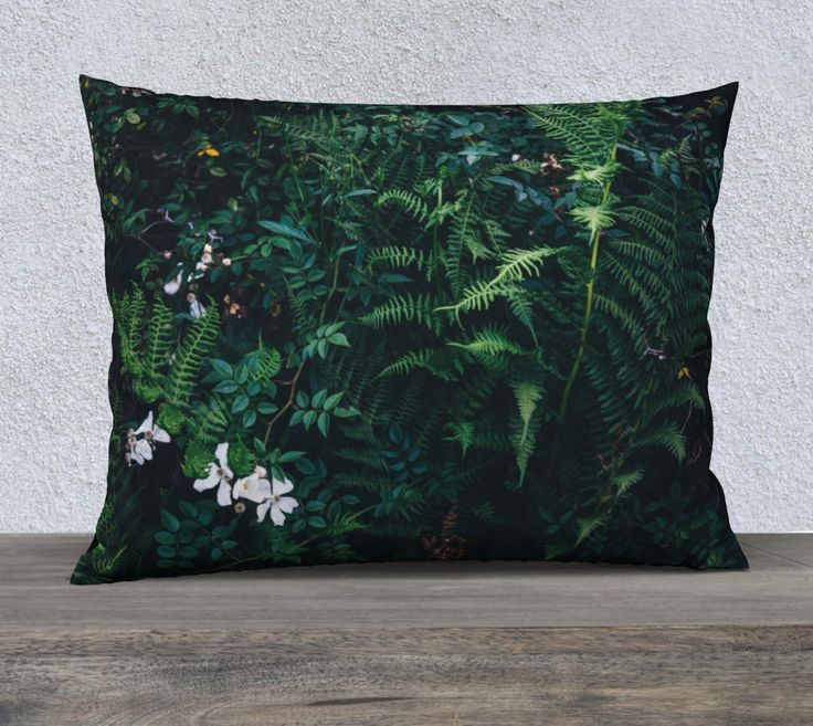 """26""""+x+20""""+pillow+""""Fleurs+Vertes""""+by+Mixed+Imagery"""