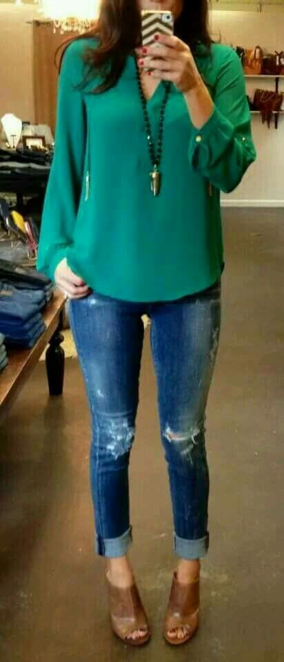 Outfit Casual (Blusa verde)