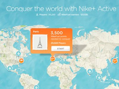 Textured map fo Nike+ Active with cool icons and tooltip element