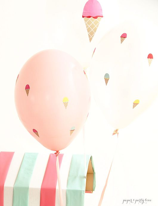 DIY Ice Cream Themed Balloons. Easy to make using just stickers!