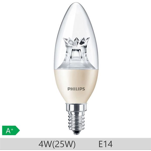 Bec LED Philips 4W E14 B38 250lm lumina calda