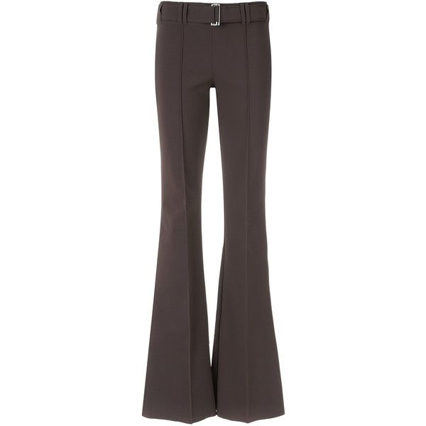 Gloria Coelho flared trousers ($325) ❤ liked on Polyvore featuring pants, brown, flare pants, flared pants, spandex pants, lycra pants and flare trousers