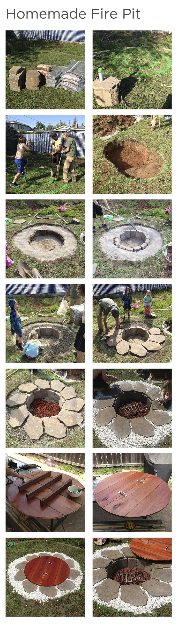 A do-it-yourself step-by-step guide to building your own homemade, in-ground fire pit complete with redwood lid. Main fire hole is 3' in diameter and the entire pit has a diameter of 7'. Fire pit is about 1' deep. Made with leveling sand, gravel, lava rock, decorative rock, stones/brick, stepping stones, redwood (2x4 and 1x12s), handles and a fire grate. Enjoy!!