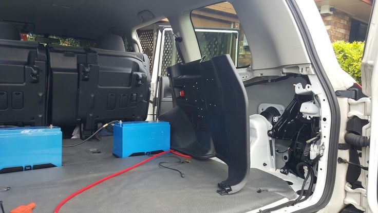 Landcruier 200 series GX rear quater panel and 2x 120amp Fullriver sealed batteries mounted to floor b… | Dual Battery system - Landcruiser 200 series | Pinte…