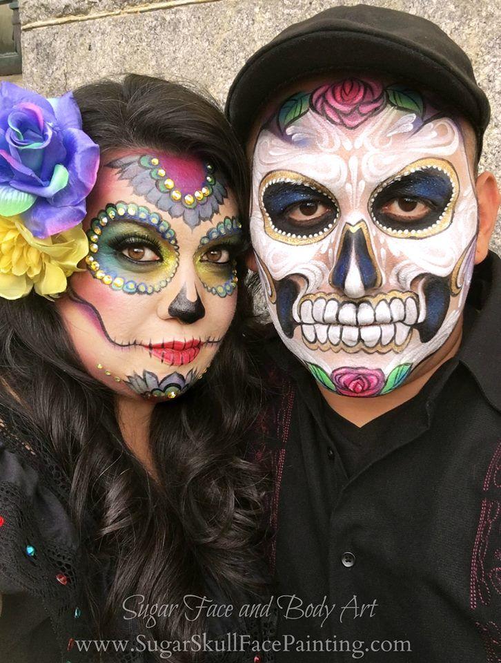 Sugar Face and Body Art www.sugarskullfacepainting.com  Sugar Skull Makeup, Sugar Skull Face painting by Shawna Del Real and Ronnie Mena