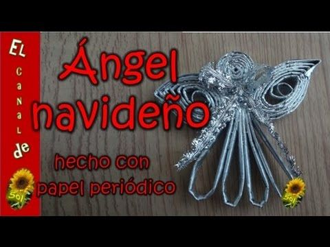 Ángel navideño 1 hecho con papel periódico - Christmas Angel 1 made with...