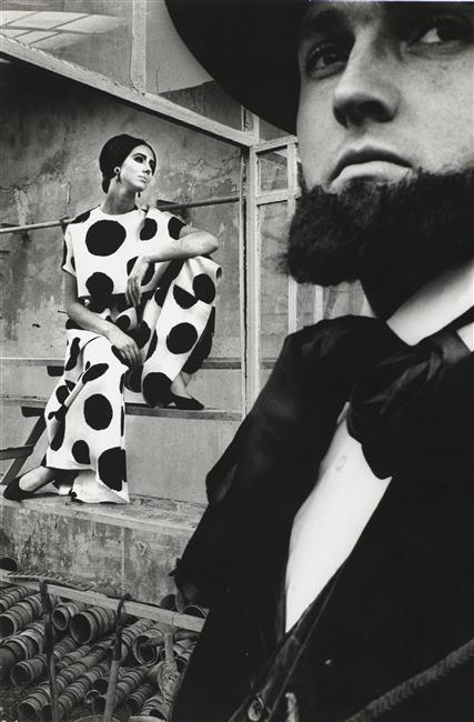 Fashion shot with Maggi Eckardt by Jeanloup Sieff for Harper's Bazaar, 1964