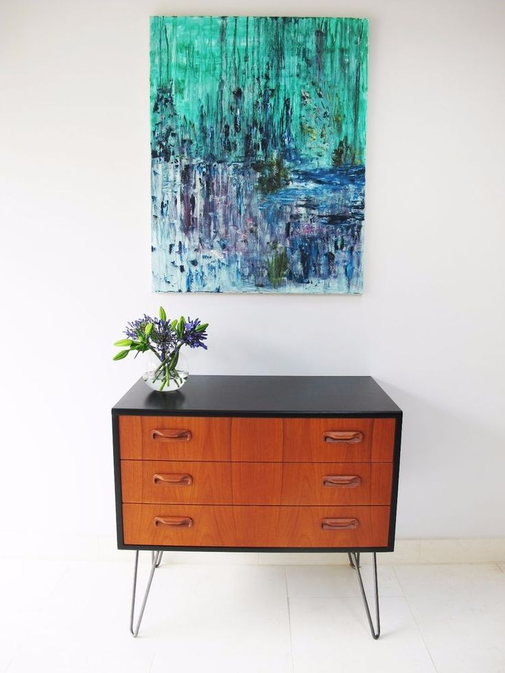 Upcycled Retro Vintage G Plan Teak Chest of Drawers on Hairpin legs in Home, Furniture & DIY, Furniture, Chests of Drawers | eBay