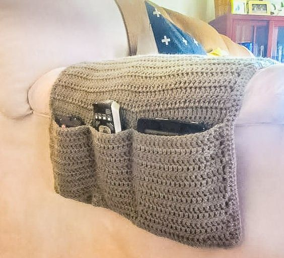 Sofa Organizer, Armchair Caddy, Remote Holder, Remote Organizer, Armchair Organizer, Armrest, Crocheted Remote Control Caddy, Entertainment http://etsy.me/2hPiFy6