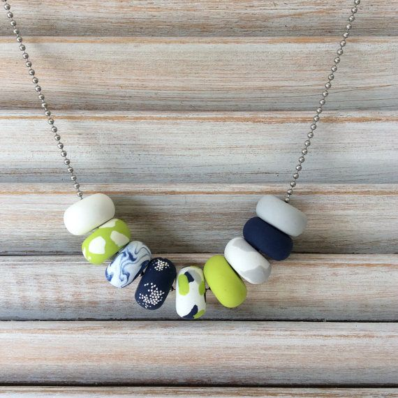 Navy, white and pistachio green necklace, polymer clay necklace, beaded necklace handmade by rubybluejewels
