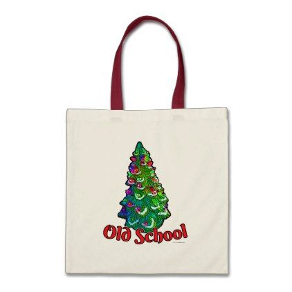 Old School Christmas Tree Slogan Tote Bag - merry christmas diy xmas present gift idea family holidays