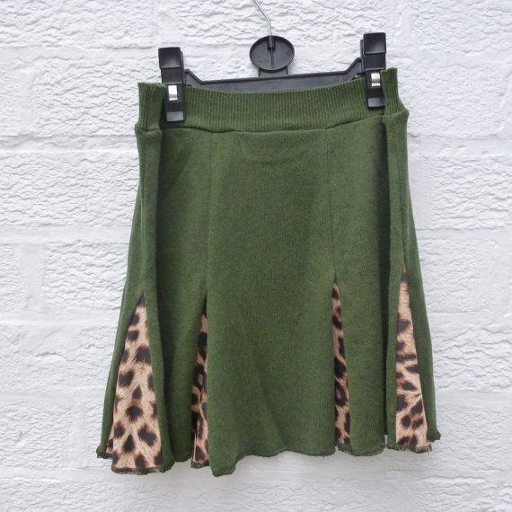 Mini skirt green cashmere skirt wool handmade skirt by Regathered, £24.00