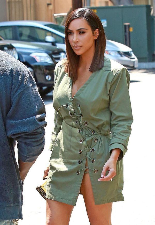 kim kardashian com corte long bob