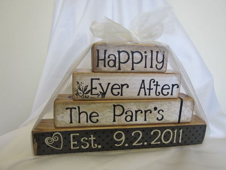 Happily Ever After wooden blocks