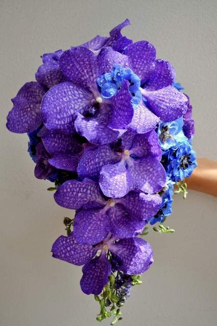 Purple Vanda drop bouquet - designed by Arioso