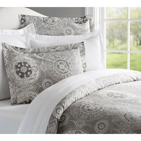 Pottery Barn Jacquelyn Duvet & Sham ($39) ❤ liked on Polyvore featuring home, bed & bath, bedding, bed accessories, textured duvet, pottery barn bedding, medallion duvet, pottery barn bed linens and pottery barn shams