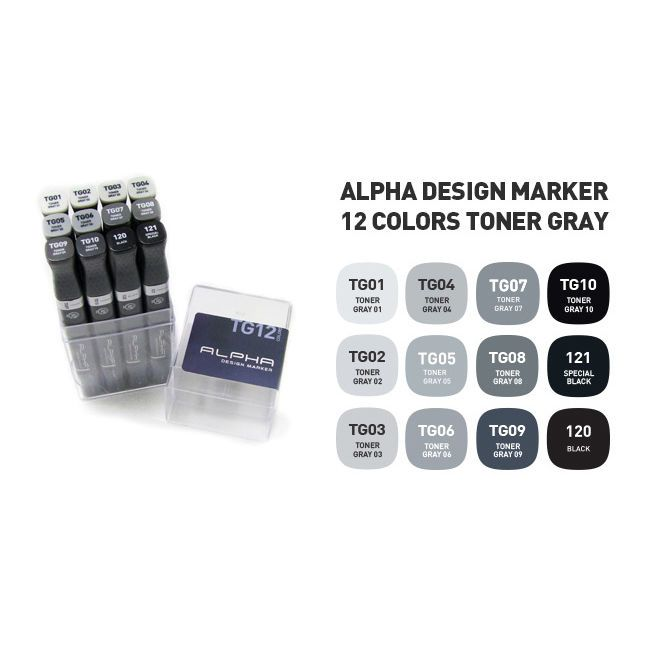 Graphic Art Marker Alpha Design Marker Twin Tip 12 Color Toner Gray illustration #Alpha