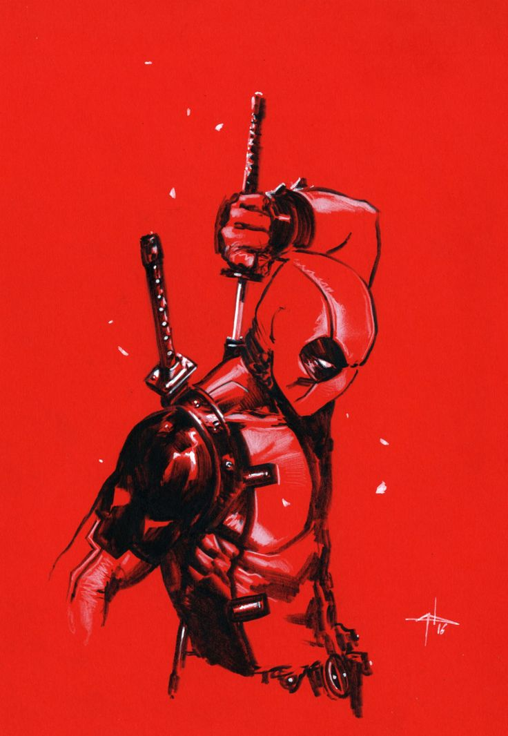 10-Minute Sketch of Deadpool | art by Gabriele Dell Otto @Tumblr
