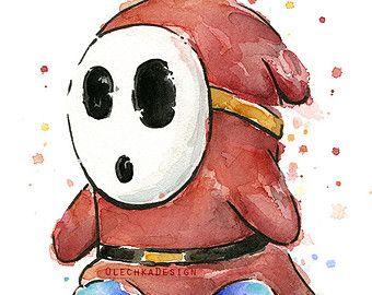 Mario Portrait Watercolor Art Print, Mario Print, Mario Watercolor, Geek Art, Videogame Nintendo Painting, Supermario Decor