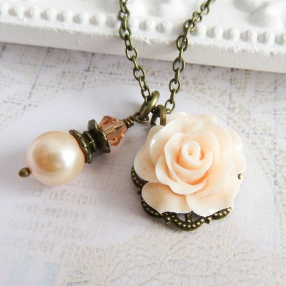 Peach rose necklace with a peach Swarovski pearl, rustic wedding jewelry. #handmade #jewelry #weddings #peach #flowers #roses #bridesmaid #flowergirl #rustic #necklace #bridal #bride