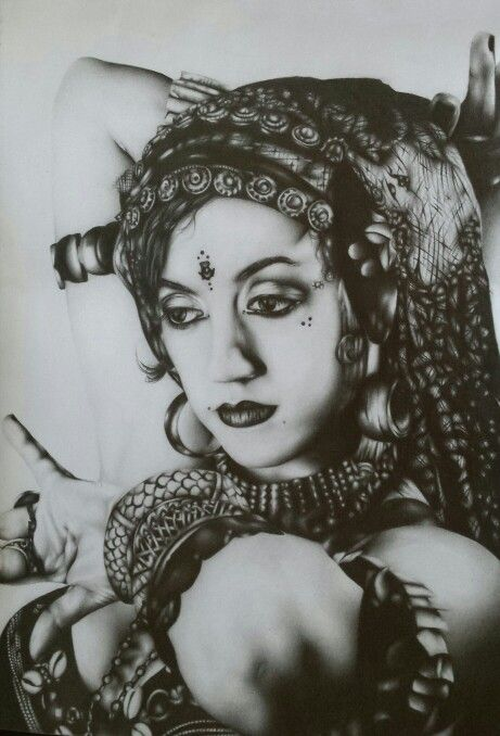 """"""" had I not created my own world ... I certainly would've died in other's """" Pencil sketch, Vintage Gypsies  2015"""