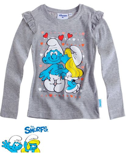 $11.70 Girl's Kids Official Smurfs Gray Longsleeve T Shirt Sz Age 4 12 | eBay