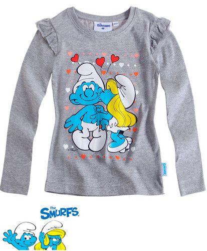 $11.70 Girl's Kids Official Smurfs Gray Longsleeve T Shirt Sz Age 4 12   eBay