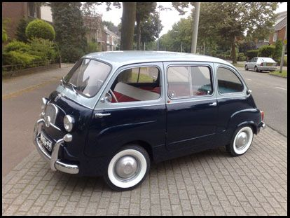 Original Fiat 600 Multipla. The first people-mover. Fantastic, eccentric design from Fiat. Beautifully ugly --adorable, actually... sort of like a bulldog.