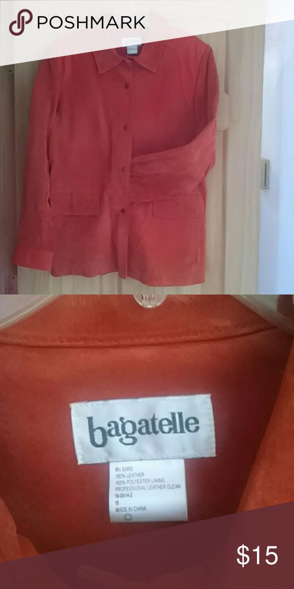 Suede blazer....SALE...❄🎉🎉🎉 Burnt orange suede with leather shoulders. bagatelle Jackets & Coats Blazers