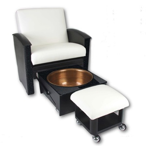 "Spa Pedicure Chair. Awesome. I'm sure it's A LOT cheaper than the ""throne"" and doesn't need a water source."