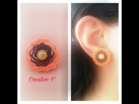 How to Make Quilling Stud Earrings/Design 10/Tutorial - YouTube