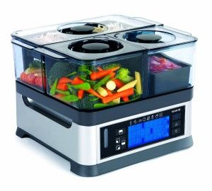 Viante CUC-30ST intellisteam counter top BPA FREE food steamer has beautiful design that adorns the kitchen with set and forget 8 preset functions and programaple cooking controls. 3 separate compartments has their own cooking time. External water inlet makes it easy to add water if the water level gets too low without disturbing steaming process and so much more.