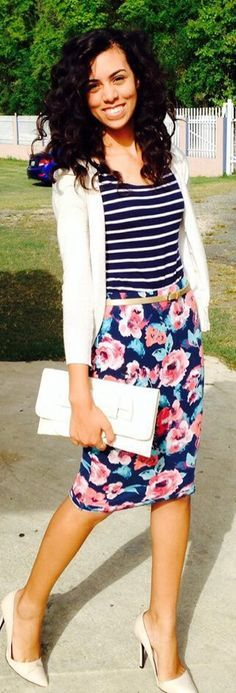 floral pencil skirt, stripe shirt and a white cardigan