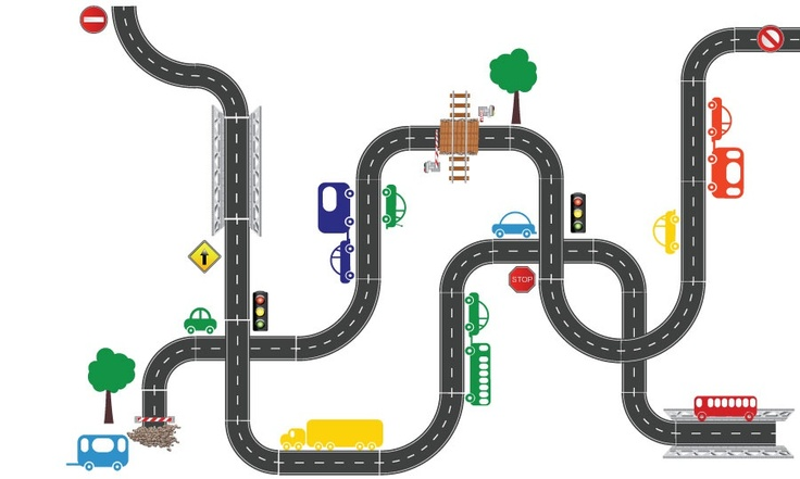 Road Track set of stickers with total length of 7 meters! Create your own track.