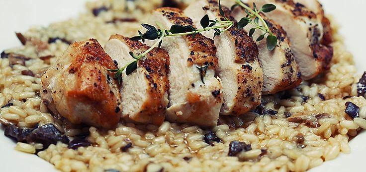 Risotto med sopp og kyllingbryst
