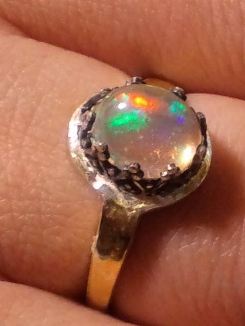 ウォーターオパールリング・シルバー金箔貼 :water opal ring silver/goldFilled