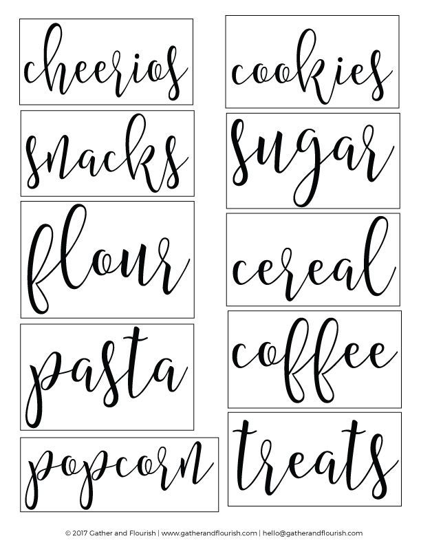Free Printable Pantry Labels Silhouette Pantry labels, Kitchen